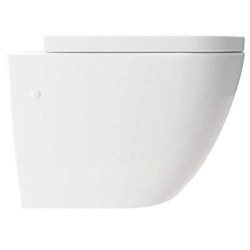 KERABAD Design Wand-WC Hänge-WC Toilette WC-Schüssel inkl. WC-Sitz mit Absenkautomatik Kurze Ausführung 48cm Spülrandlos KB76-1-M Randlos