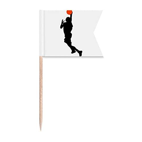 Sports Slam Dunk Basquete Jogador Bandeiras de Etiquetagem para Bolo de Festa Comida Cheeseplate