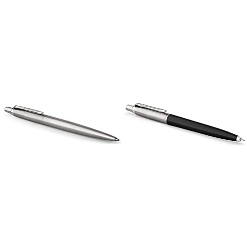 PARKER Jotter Stainless Steel Bolígrafo Ct + Jotter Originals Colección De Bolígrafos, Acabado Clásico Negro, Punta Mediana, Tinta Azul, Una Unidad