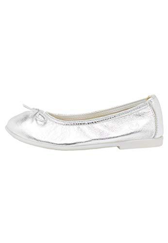 Naturino Margot-Ballerina aus Kalbsleder in Metallic-Optik-Silber Silber 26