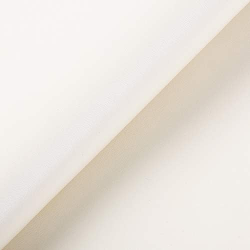 Fxhyy Material De Cuero Sintético De Cuero Sintético Textura Napa Paño De Cuero Elástico Ligero Tela De Tapicería Impermeable Suave Reparar Sofá Silla Asiento (Color:Blanco Crema)