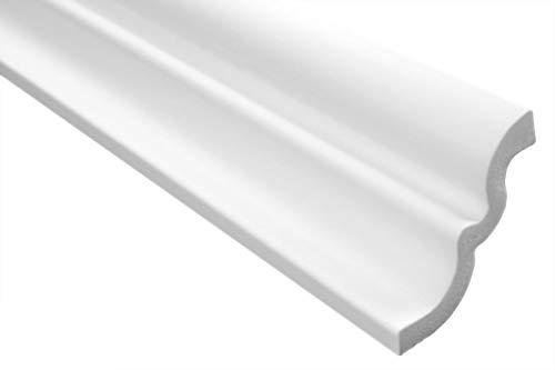 Zierleisten Sparpaket E-21   leicht und stabil   extrudiertes Styropor   Stuckprofile   Decken-/ und Wandübergang   modern weiß   dekorativ   XPS   62 x 62 mm   20 Meter
