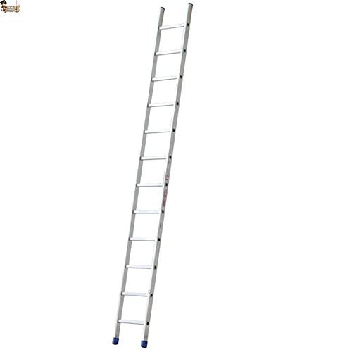 BricoLoco Escalera aluminio 1 tramo industrial. Profesional. De apoyo simple. 10 Peldaños. Altura total 3 metros. Perfil ancho de gran sección para mayor estabilidad.
