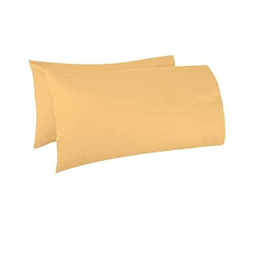 Pizuna - Juego de 2 Fundas de Almohada de algodón de 400 Hilos, Amarilla Dorada, 100% algodón de Fibra Larga, Suave Tejido de satén, lujosas Fundas de Almohada, 45 x 75