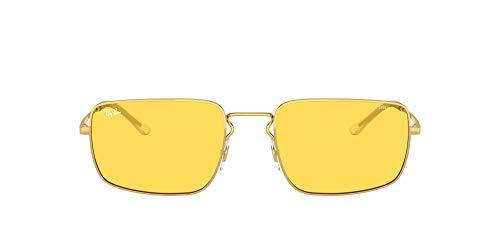 Ray-Ban RB3669 Evolve Polarized Rectangular Sunglasses, Gold/Yellow to Green Photochromic, 55 mm