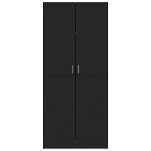 WooDlan Armario de aglomerado Negro Brillante,80x52x180 cm