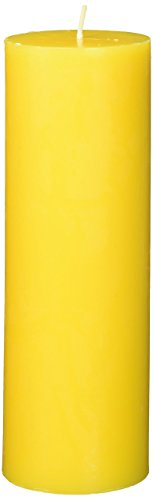 Zest Candle Pillar Candles, 3 by 9-Inch, Yellow Citronella