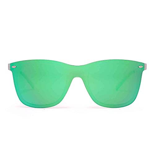Gafas de Sol de Espejo Sin Marco Una Pieza Sin Montura Anteojos Hombre Mujer(Transparente/Espejo Verde)