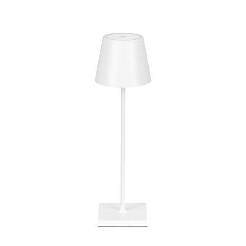 LED Akku Tischleuchte dimmbar ohne Kabel innen & außen warmweiß IP54 Up & Down (Weiß)