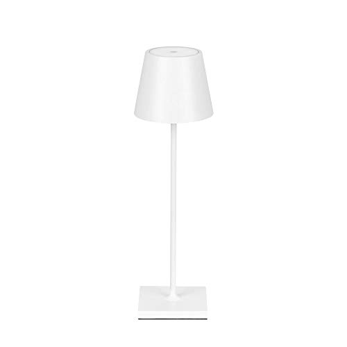 Lámpara de mesa LED con batería regulable, sin cable, para interior y exterior, luz blanca cálida, grado de protección IP54 (blanca)