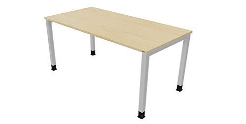 OKA Speed Simply DL8 Schreibtisch Tischbein Eckig (Ahorn-Alusilber, 160 x 80cm)