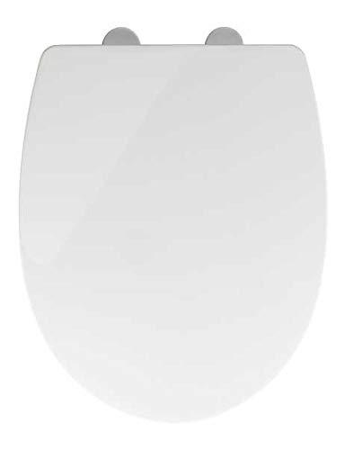 WENKO WC Sitz mit Absenkautomatik Tavola, Toilettendeckel, Toilettensitz, Flix Clip Hygienebefestigung, Einfache Montage, Soft Close, Duroplast, Oval, Weiß