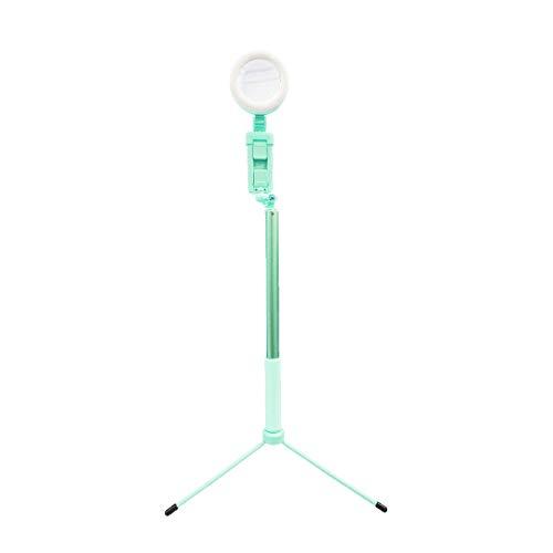 スマホ 三脚 LEDリングライト付き 直径8cm 3色モード 3輝度 USBライト照明キット リモコン 角度調節 bluetooth スマホスタンド 三脚スタンド 携帯ホルダー ビデオ/生放送/自撮り写真/撮影用セット グリーン
