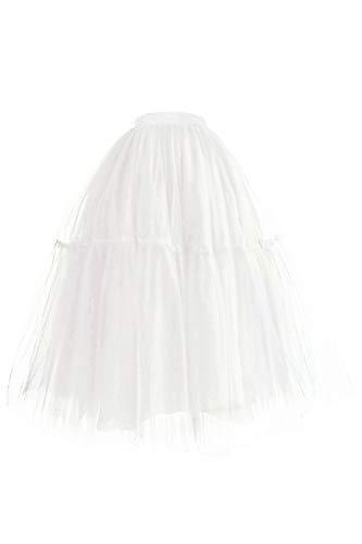 Misshow Jupe Jupon sous la Robe Femme Fille Long en Tulle Tutu Petticoat Evasé Vintage Rockabilly Blanc Taille Unique