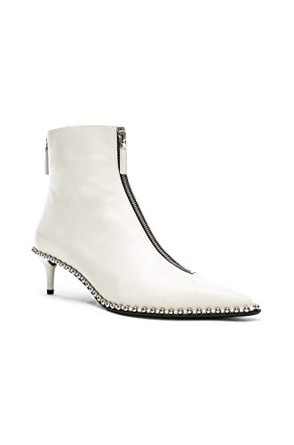 Alexander Wang Women's Eri White Leather Studded Low Boots Zipper Front (36)