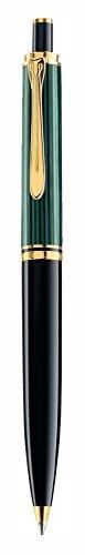 Pelikan 987792 Elegante Penna a Sfera Meccanismo a Scatto Linea K 400 Roller Souveraen Stresemann, Verde Nero, Dettagli Oro 24K, Qualità Premium, Prodotto in Germania