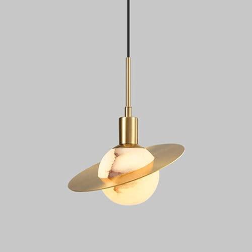 NAMFXH Chino Candelabro Cobre Mármol Lámpara Colgante Luz Lujo Creativo Lámpara de Techo Colgante G9 Dormitorio Comedor Droplight Personalidad Simple Linterna Ajustable