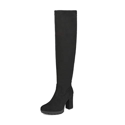 DREAM PAIRS Women's Black Thigh High Chunky Heel Suede Over The Knee Stretch Boots Size 9 M US Katia-3