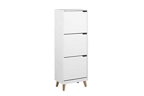 AC Design Furniture Armario Para Zapatos Mariela, Madera, Blanco, 30 x 47 x 133,5 cm