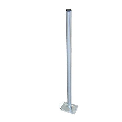 Skyrevolt 100 cm Mast 38 mm Standfuss Antennenmast Flach-Dach Rohr-Ständer Mastfuss Balkon-Halter für Satellitenantenne SAT-Schüssel aus Stahl verzinkt