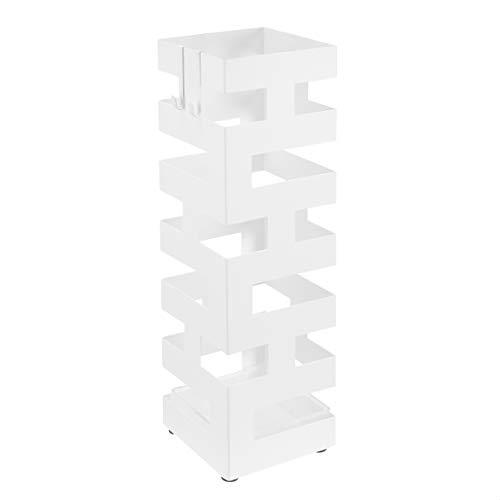 Amazon Basics - Paragüero cuadrado de metal con gancho y bandeja de goteo, diseño geométrico, color blanco