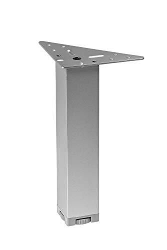 Gedotec Moderner Möbelfüße höhen-verstellbarer - MARIE | Höhe 200 mm | Metall Sofa-Fuß mit Regulierschraube | Schrankfuß Chrom matt | 4 Stück - Design Sockelfüße silber mit Dreieck-Anschraubplatte