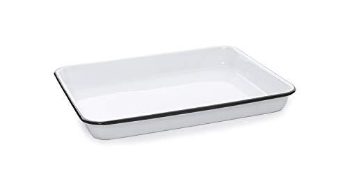 Enamelware Small Rectangular Tray, 11.25 x 9 inches, Vintage White/Black (Single)