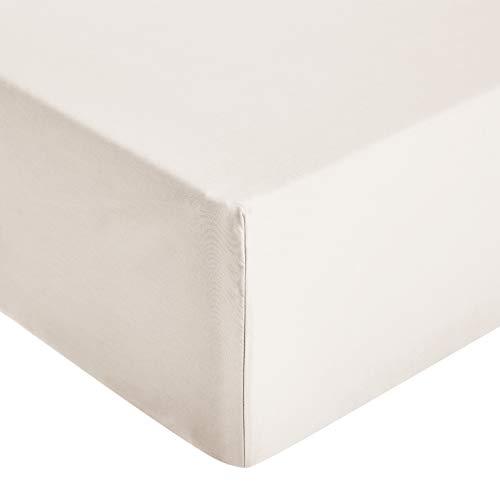 Amazon Basics - Sábana ajustable de microfibra premium (200 x 200 cm), crema