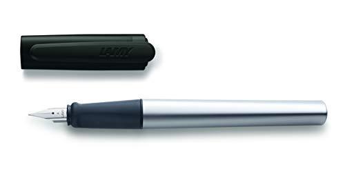 LAMY nexx Füllhalter 037 - Füller aus Aluminium in der Farbe Schwarz mit rutschfestem Griffstück und Stahlfeder - Federstärke A (Anfänger)