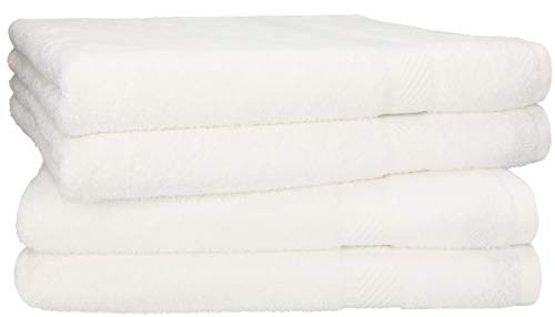 Betz 4 Stück Duschtücher Set Größe 70x140 cm 95°C waschbar 100% Baumwolle Badetuch Duschhandtuch Duschtuch Palermo Farbe weiß