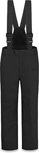 normani Kinder Thermohose Winterhose Skihose - Wasserdicht 11000 mm - für Jungen und Mädchen mit abnehmbaren Hosenträgern, verstärkten Knie- und Gesäßbereich Farbe Schwarz Größe 164