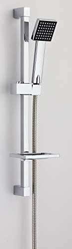 VeeBath Alpha Square Shower Kit Include Bar Riser Rail/Shower Hose and Soap Dish