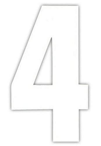 2 Große Zahlen Selbstklebend Weiß -4 - Weiß