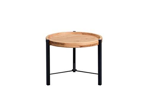 HomeTrends4You Opus 1 Couchtisch/Beistelltisch, Echtholz Wildeiche furniert, braun, Durchmesser 50cm, Höhe 39cm