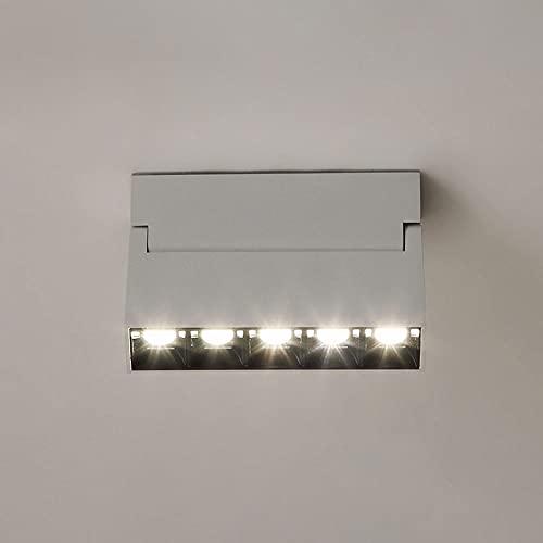 Siet Foco Moderno del Techo, luz de Acento de Acento montado en la Superficie del LED, lámpara de Techo giratoria, Kit de iluminación de Pista Fija de 12W Aluminio para el hogar (Color : Blanco)