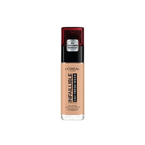 L'Oréal Paris Make up, Wasserfest und langanhaltend, Flüssige Foundation mit LSF 25, Infaillible 24H Fresh Wear Make-up, Nr. 235 Honey, 30 ml