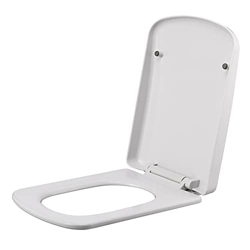 HanOBC Abattant de WC rectangulaire rond avec couvercle en plastique à fermeture lente et couvercle universel, compatible avec les cuvettes de toilettes standard, blanc
