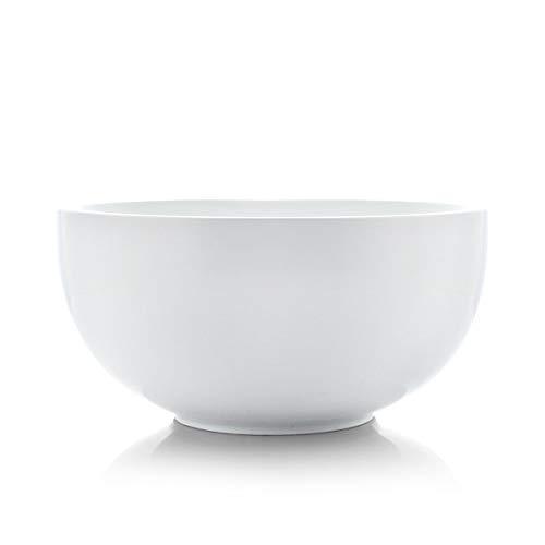 SURFLORA 9.5 Inches, 3 Quarts Super Large Porcelain Serving Bowl of Salad, Pasta, Soup, Thick Bowl Wall, White