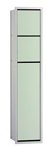Emco Asis 150 inbouw badkamerkast voor toilet, vochtige doeken, chroom/zwart, inbouwkast, deurscharnier naar keuze - 975027950