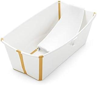Stokke Flexi Bath Portable Baby Bathtub Bundle with Heat-Sensitive Plug and Newborn Baby Bath Support, White Yellow