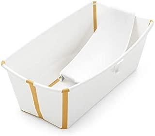 Stokke Flexi Bath Bundle with Newborn Support, Heat Sensitive Plug, White Yellow
