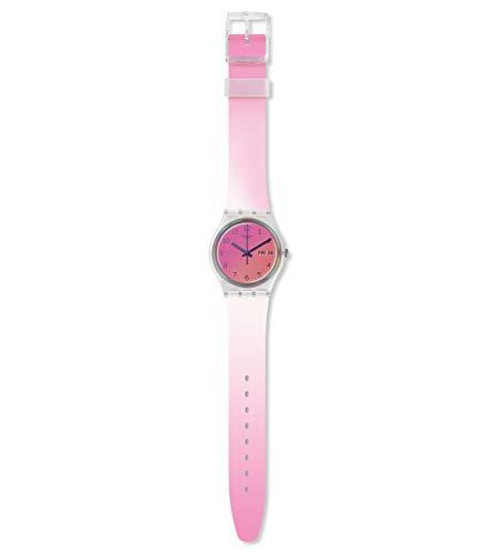 Swatch Damen Analog Schweizer Quarz Uhr mit Silicone Armband GE719