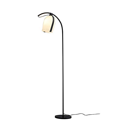 Hong Yi Fei-Shop Lámpara de Pie 55.9'- Lámpara de pie, Acabado Mate, Resina, Bombilla LED incluida, Negra Luz de Pie