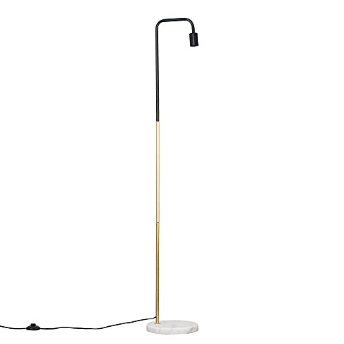 Industrial Black and Gold Effect Metal Floor Lamp with a White Marble Base