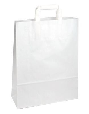250 Papiertragetaschen Papiertaschen Tüten weiß 32 + 12 x 40 cm Papiertüten Tragetaschen