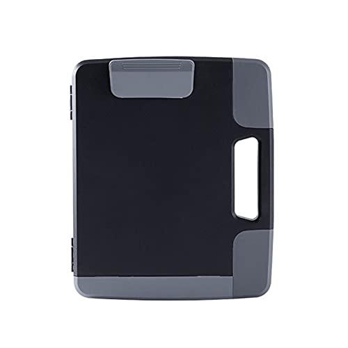 WSFANG Portapapeles Black Portable A4 Archivos Documento Portapapeles Estuche De Almacenamiento Organizador Holder Office Supply Business Style Design Escuela, Oficina, Empresa, etc.