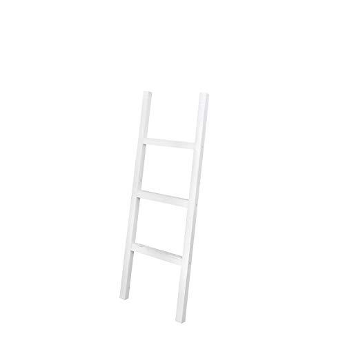 Decowood - Escalera de Madera Decorativa con 3 Peldaños, Blanca - 118x41 cm