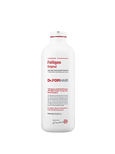 [Dr.FORHAIR] Folligen Shampoo (750 ml/25.36 fl.oz) for Relieving Hair Loss, Hair Loss Prevention [Paraben FREE, Silicone FREE, Sulfate FREE]