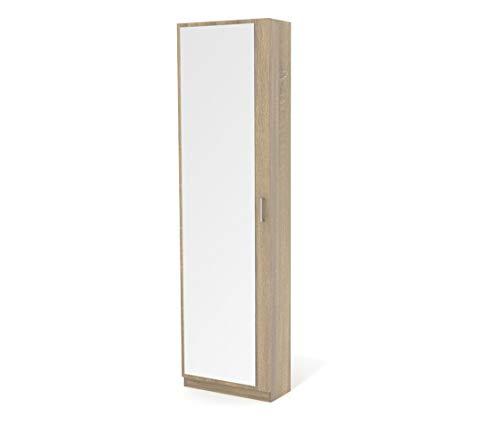 Dormidan- Zapatero con Espejo 1 Puerta, Mueble Armario, Gran Capacidad (Roble) …