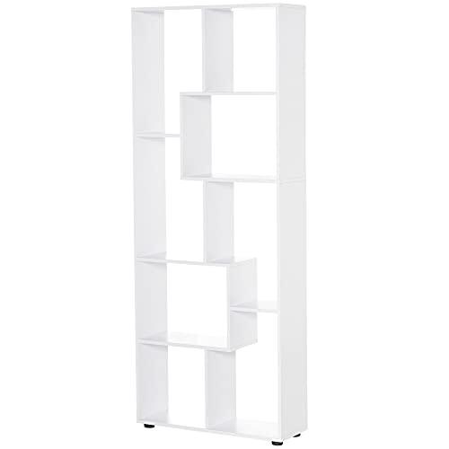 homcom Libreria Scaffale Moderna di Design a 8 Ripiani in Legno Truciolare, Arredamento Casa e Ufficio, 70x24x178cm Bianco